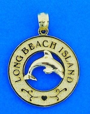 Long Beach Island Dolphin Pendant/Charm, 14k Yellow Gold