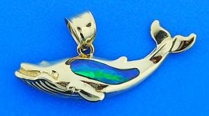 Whale Opal Pendant, 14k Yellow Gold