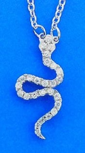 Snake Cz Necklace, Sterling Silver