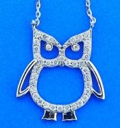Owl Cz Necklace/Pendant, Sterling Silver