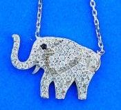 Elephant Cz Necklace/Pendant, Sterling Silver