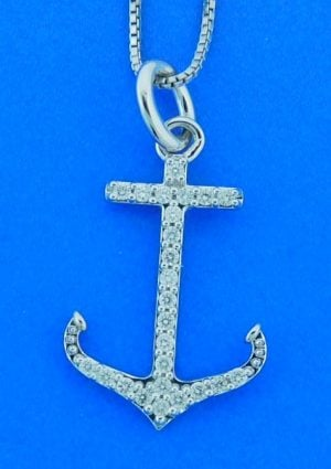 Anchor Diamond Pendant, 14k White Gold