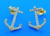 Anchor Diamond Earrings, 14k Yellow Gold