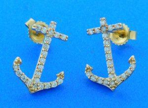 Anchor Diamond Earrings, 14k Yellow Gold
