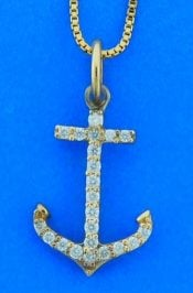 Anchor Diamond Pendant, 14k Yellow Gold