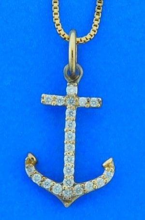 Anchor Diamond Pendant, 14k Yellow Gold