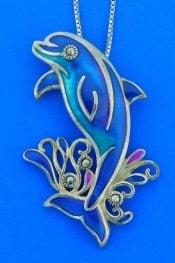 Dolphin Enamel Pendant, Sterling Silver