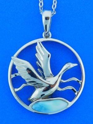 Mallard Larimar Pendant, Sterling Silver