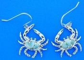 Blue Crab Larimar Dangle Earrings, Sterling Silver
