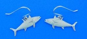 Tuna Dangle Earrings, Sterling Silver