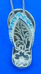 Flip Flop Pendant, Sterling Silver