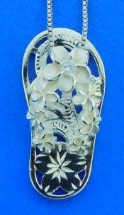 Flip Flop Plumeria Pendant, Sterling Silver
