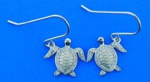 Sea Turtle Dangle Earrings, Sterling Silver