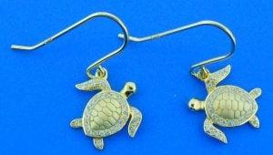 Sea Turtle Dangle Earrings, Sterling Silver/Gold Overlay