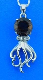 Octopus Smokey Quartz Pendant, Sterling Silver