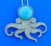 Octopus Larimar Pendant, Sterling