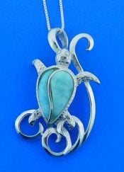 Sea Turtle Larimar Pendant, Sterling Silver