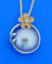 Denny Wong Lavender Pearl Plumeria Pendant, Precious Silver/18k