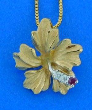 Denny Wong Hibiscus Pendant, 14k Yellow Gold