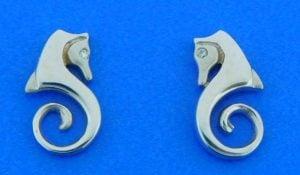 Steven Douglas Seahorse Post Earrings, 14k White Gold