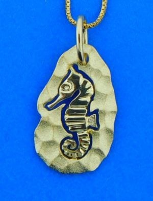 Denny Wong Hammered Seahorse Pendant, 14k Yellow Gold