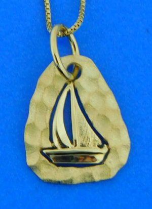 Denny Wong Hammered Sailboat Pendant, 14k Yellow Gold