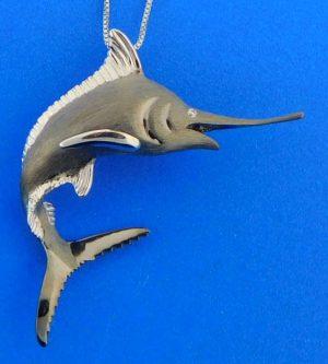 Denny Wong 3d Blue Marlin Pendant, Precious Silver