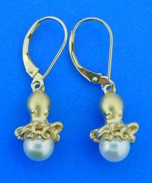 Steven Douglas Octopus Pearl Earrings, 14k Yellow Gold