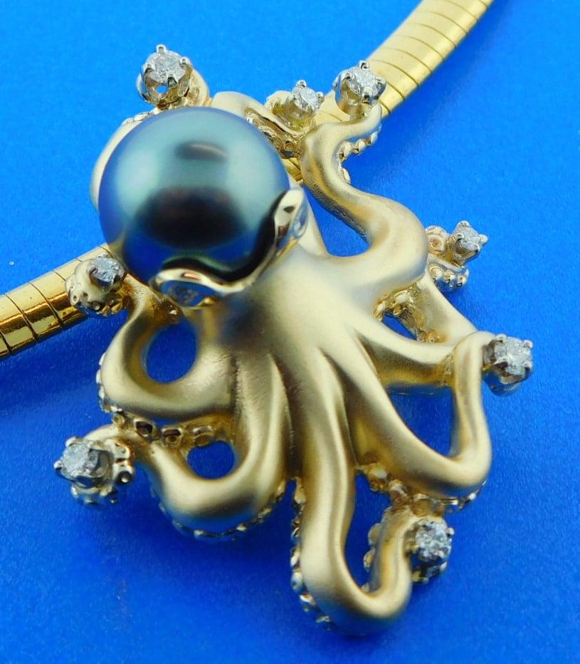 Steven Douglas Octopus Pearl Slide Pendant 14k Yellow