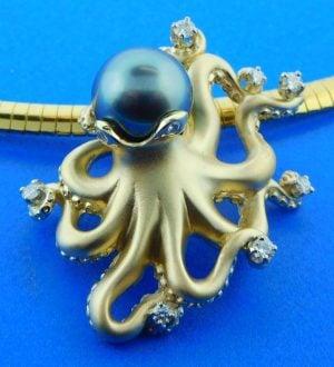 Steven Douglas Octopus Pearl Slide/Pendant, 14k Yellow Gold