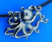 Steven Douglas Octopus Pearl Necklace/Pendant, Sterling Silver