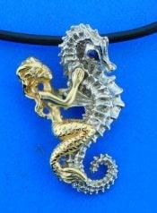 Steven Douglas Seahorse Mermaid Pendant, Sterling Silver/14k