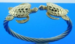 Steven Douglas Sea Turtle 14k & Stainless Steel Cable Cuff Bracelet