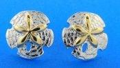 Steven Douglas Sand Dollar Post Earrings, Sterling Silver/14k