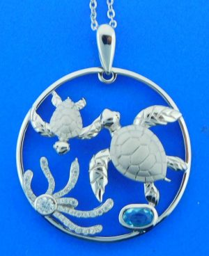 Sea Turtle Sealife Pendant, Sterling Silver