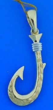Fish Hook Pendant, 14k 2-Tone