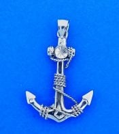Anchor 3D Pendant, 14K White Gold