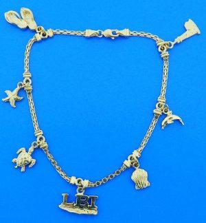 """Lbi Dangling Ankle Charm Bracelet, 14K Yellow Gold-10"""""""