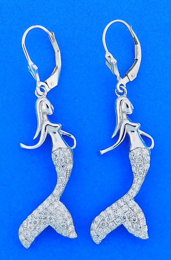 Mermaid Dangle Earrings, Sterling Silver