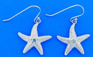 Starfish Dangle Earrings With Blue Crystal, Sterling Silver