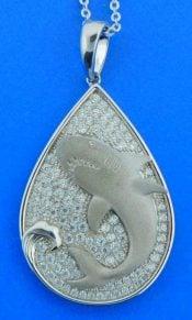 Shark cz Pendant, Sterling silver