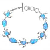 alamea sea turtle opal bracelet , sterling