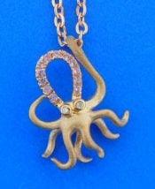 denny wong octopus pendant 3/4'' x 5/8'' 2 diamond eyes 12 pastel PINK sapphires .12ct