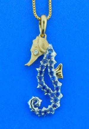 denny wong sapphire seahorse pendant