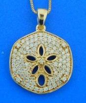 sanddollar diamond pendant, 14k
