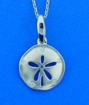 alamea sanddollar diamond pendant, 14kW