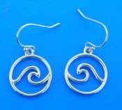 sterling silver rhodium plated wave dangle earrings 5/8'' wide