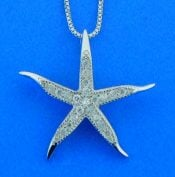 Starfish CZ Pendant,Sterling Silver