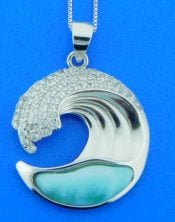WAVE LARIMAR STERLING PENDANT