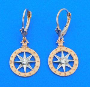 compass rose earrings,rose gold, 14k